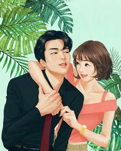♡ Korean Illustration, Couple Illustration, Cute Couple Art, Anime Love Couple, Cute Couple Drawings, Cute Drawings, Fanart, Anime Couples, Cute Couples