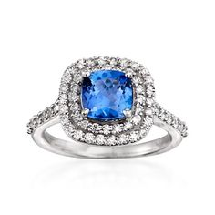 1.50 Carat Tanzanite and .75 ct. t.w. Diamond Ring in 14kt White Gold
