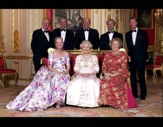 express:  Monarchs at the Golden Jubilee of Queen Elizabeth 2002-standing-King Albert, King Juan Carlos, King Harald, King Carl Gustaf, Grand Duke Henri; seated-Queen Margrethe, Queen Elizabeth II, Queen Beatrix