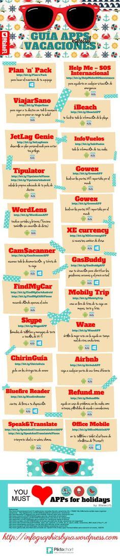 Guía aplicaciones móviles: apps especial vacaciones #infografia #infographic