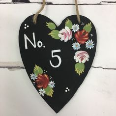 Handpainted canal boat art inspired house number plaque. It's all about curb appeal. Created using the Canal art bundle from www.folkit.co