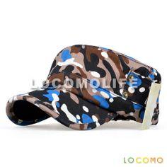 Camo Army Military PU Leather Brim Flat Cap Blue b1b354b0da7a
