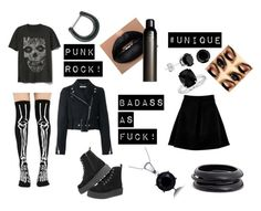 """""""Punk Rock Monocromatic"""" by alternativekid ❤ liked on Polyvore featuring Gap, Boohoo, Givenchy, Killstar, Space NK, Blue Nile and ZENZii"""