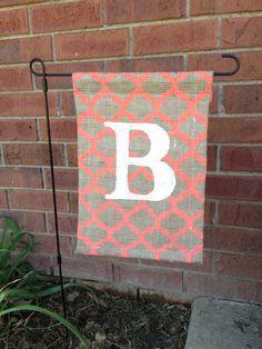 Custom burlap monogram garden flag