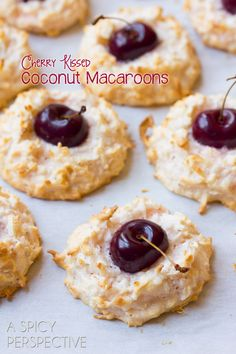Coconut Macaroons - With a Fresh Cherry Center!
