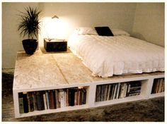 DIY platform bed. This one requires a bit more skill, but if you have an architect friend or a carpenter uncle, they can help you out. Such a neat Idea! I would suggest though making the platform the same size as the bed if you don't like the look of the giant platform.