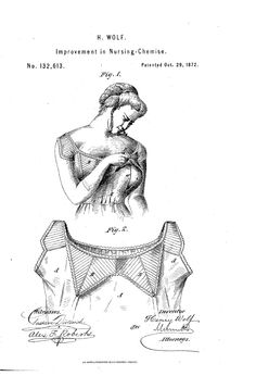 Nursing Chemise 1872  US Patent 132,613 by Henry Wolf