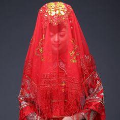 红双喜头巾 新娘结婚喜帕中式婚礼红盖头 刺绣半透明红色盖头头纱