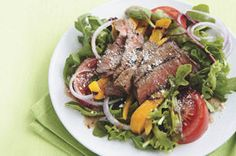 Who says a salad can't be satisfying?  You won't be hungry after eating this delicious main-dish salad with generous amounts of colourful peppers and smoky flavoured grilled steak.
