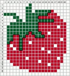 A Juicy Strawberry. Cross stitch chart. #cross_stitch