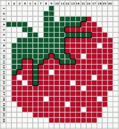 A Juicy Strawberry. Cross stitch chart.