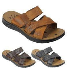 be931eba88f Mens Black Leather Cross Straps Jesus Sandals Walking Slippers Size 6 7 8 9  10