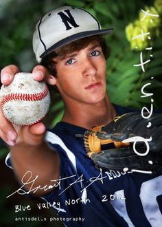 Boy Senior Photography dont use baseball but hat of favorite team and perhaps their logo