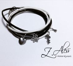 Leather bracelet with steel accessories by Z.Aless.