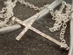 Silver Hammered Cross Necklace