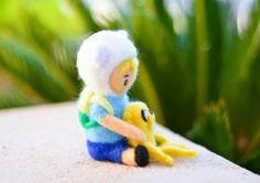 Needle Felted Adventure Time Baby Finn & Jake Miniature Wool Doll ooak mini #adventuretime #finnandjake