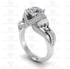 Show details for 'Aphrodite' 3.25ct White Diamond Skull White Gold Engagement Ring