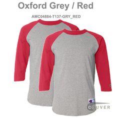 135d73f4 Oxford Grey / Red Champion Men's Raglan Baseball T-Shirt - 2 Pieces Set  Raglan