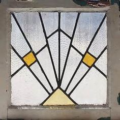 Antique Stained Glass Window Art Deco Sunrise | eBay