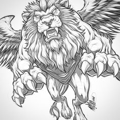 The winged lion is a mythological creature that resembles a lion with bird-like wings. Below, we are going to mention winged lion tattoo designs and ideas. Tattoo Sketches, Tattoo Drawings, Art Sketches, Art Drawings, Lion Tattoo Design, Lion Design, Tattoo Designs, Acab Tattoo, Tattoos