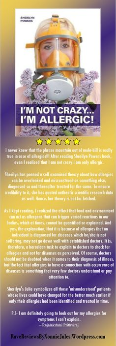 """You got to """"read it to believe it"""" 5 Star review I'm Not Crazy I'm Allergic by Sherlyn Powers @SPowersincia #RRBC"""