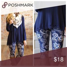 ♦️Just IN♦️ Navy Paisley Print Leggings NEW♥️ New Arrival, Navy Paisley Print Leggings Trendy, Stylish and the fabric is so soft to the touch, just in time to add to your Fall wardrobe Brand New and still in package One Size fits 2 to 12 comfortably 92% Polyester 8% Spandex Hand wash/Hang Dry Price firm unless bundle for 10% discount Happy Poshing! Infinity Raine Pants Leggings
