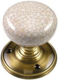 Delamain Ivory Crackle Porcelain Door Knobs | World of Brass