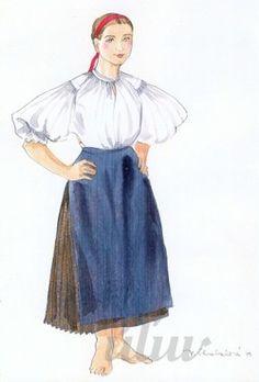 Work clothes; Woman's clothes from village Studienka, Záhorie region, Western Slovakia.