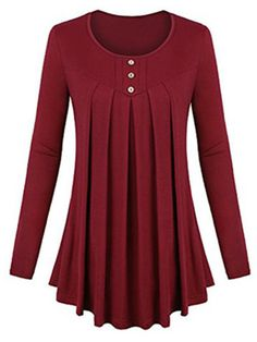 4f190beb92d358 Casual Solid Color Button Decorated O-Neck Pleated Women Blouses look not  only special