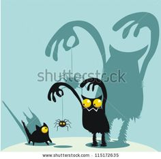 Cute monster, kitty and spider by abeadev, via ShutterStock