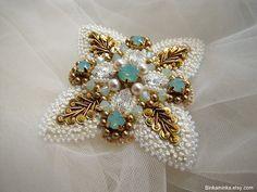 Swarovski Opal Brooch Beaded Pin Bead Embroidery Brooch French