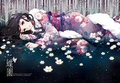 Tags: Anime, Nardack, White Flower, In Water, Bamboo, Laying in Water, Lotus (Flower)