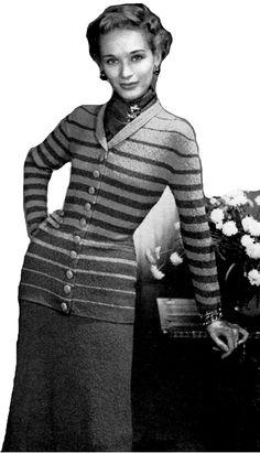 Knitting Pattern, download, women's pattern,knit skirt and jacket ,vintage knitting pattern, knit set PDF , instant download pattern by PrettyCrochetPattern on Etsy