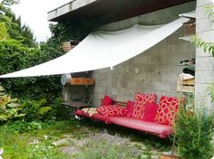 I want to live here...  I cant aford an awning right now, but I thought I could use  canvis or even cheaper a painters drop cloth to provide some shade, should work for now.
