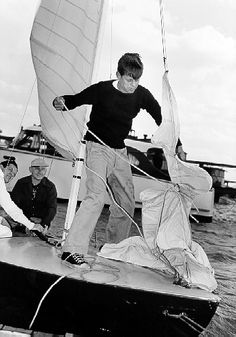 JFK getting ready to go sailing aboard the Victura.