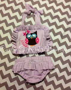 toddler Owl Applique Swim Suit
