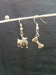 Bulldog and Dog Bone Silver Earrings Sports by SimplyEdgyDesigns, $5.00