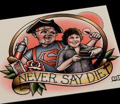 Never Say Diet Tattoo Art print by ParlorTattooPrints on Etsy