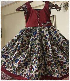 Kids Blouse Designs, Bridal Blouse Designs, Blouse Neck Designs, Kids Frocks Design, Baby Frocks Designs, Frocks For Girls, Dresses Kids Girl, Kalamkari Dresses, Kids Gown