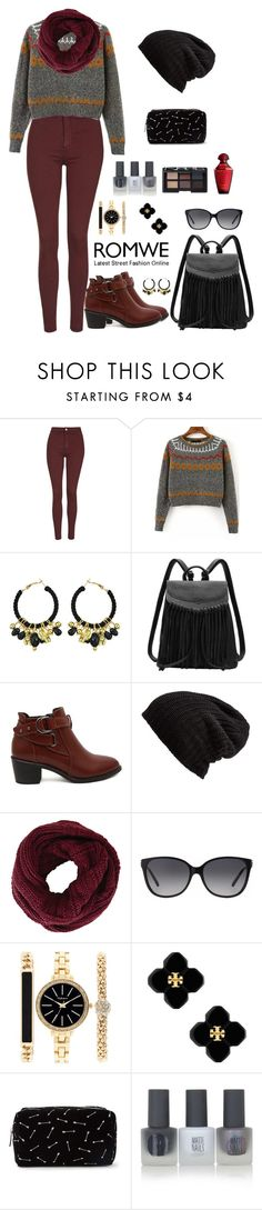 """""""Romwe 7"""" by amra-f ❤ liked on Polyvore featuring Topshop, Free People, BCBGMAXAZRIA, Michael Kors, Style & Co., Tory Burch, Forever 21 and NARS Cosmetics"""