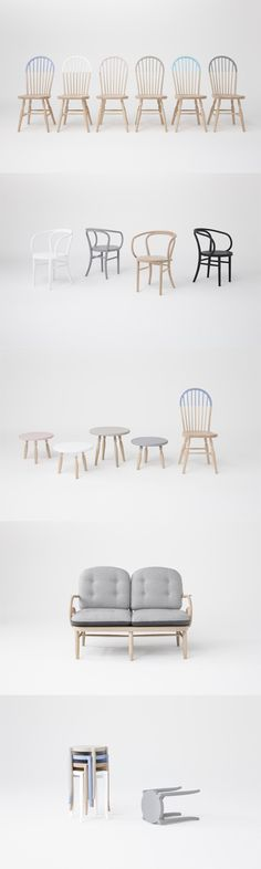 Nendo's Akimoku collection is based on the 102 year old archive of bentwood furniture models created by the only bentwood specialist and furniture maker in. Take A Seat, Table And Chairs, Furniture Design, Lounge, Sofa, Interiors, Spaces, Color, Collection
