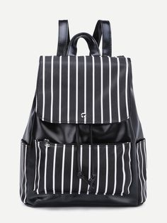 #AdoreWe #SheIn Bags - SheIn Faux Leather Stripes Drawstring Flap Backpack - AdoreWe.com