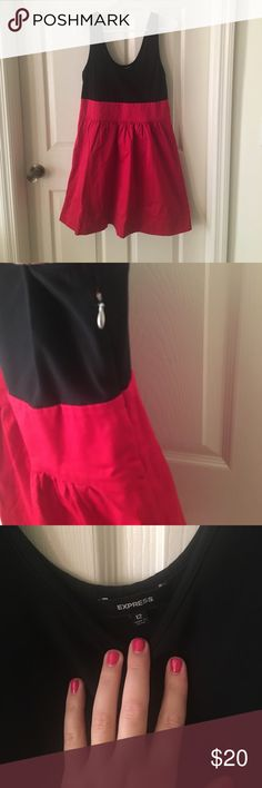 Fit and Flare Dress Red and black fit and Flare Dress! Excellent condition. Worn twice. Fabric pictured above. Express Dresses