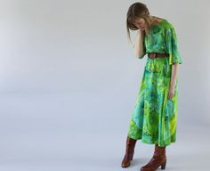 The Astrid: Vintage Hawaiian Oceanic Green Dress from The Symmetric on Etsy.