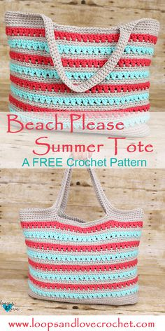 The Beach Please Summer Tote is the perfect bag to carry everything you need for your summer adventures. Check out the free pattern and video tutorial! bag tote Beach Please Summer Tote - Free Crochet Pattern Loops & Love Crochet Crochet Beach Bags, Crochet Market Bag, Love Crochet, Knit Crochet, Crochet Summer, Crochet Tote Bags, Free Crochet Bag, Crocheted Bags, Crochet Baskets