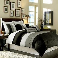 8 Pieces Black White Grey Luxury Stripe Comforter 90x92 Bedinabag Set Queen Size Bedding ** See this great product.