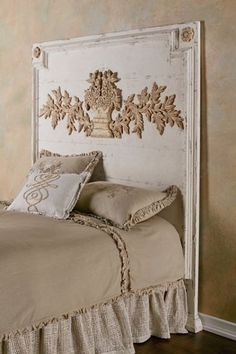 Our Burgundy Headboard features a beautifully weathered and hand-carved floral design. Available in Queen and King sizes.