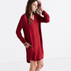 Madewell Bright Garnet Du Jour Three-quarter Sleeve Tunic Mid-length Short Casual Dress Size 8 (M) off retail Red Tunic Dress, Shirt Dress, Casual Dresses, Casual Clothes, Beautiful Dresses, Quarter Sleeve, Women's Fashion, Dress Fashion, Colors