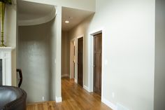 Interior Products | crown fitted to the curve of the staircase | Bayer Built Woodworks, Inc.