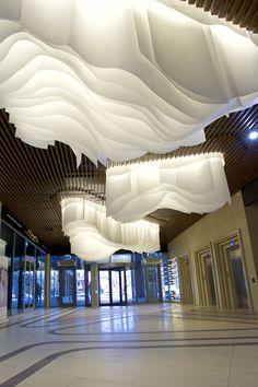 Interior Ceiling Design, Interior Exterior, Interior Architecture, Fabric Installation, Ceiling Installation, Sauna Design, Ceiling Detail, Parametric Design, Lobby Design